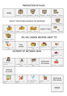 Preposition of Place Board game worksheet – Free ESL printable worksheets made b…- jo jo Preposition Activities, Speech Therapy Activities, Language Activities, Prepositions Worksheets, Vocabulary Activities, Preschool Worksheets, Play Therapy, English Games, English Activities
