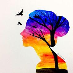 Девушка. Закат. Дерево. Небо.