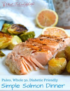Simple Salmon Dinner.  Post includes recipe for the salmon and instructions for roasted brussels sprouts and fingerling potatoes.  I lost 8 sizes and reversed Type 2 Diabetes through diet and lifestyle.  For more healthy ideas follow me on Pinterest and subscribe to my blog at this link. #paleodinner