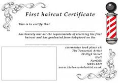 First Haircut Certificate Template Babys Baby S