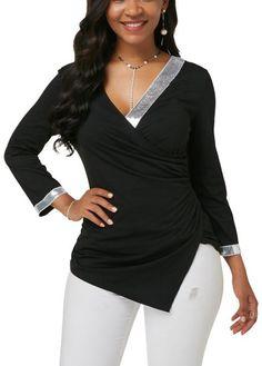 V Neck Asymmetric Hem Sequin Embellished Blouse Stylish Tops For Girls, Trendy Tops For Women, Blouses For Women, Blouse Styles, Blouse Designs, Plus Zise, Blouse Online, Fashion Outfits, Blouse Neck