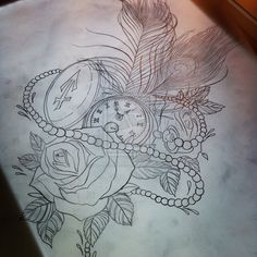 pocket watch tattoo sketch - Google-Suche