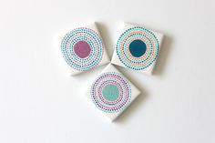 Hand Painted Tiles & Magnets - Circular Dots . S379 by funkytiles on #Etsy