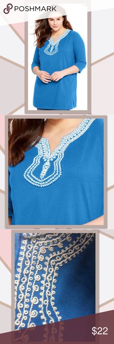"""Split Neck Embroidered Tunic 18/20 NWT - beautiful Turquoise Tunic with White Embroidery at the neckline. ** scoop neck ** ¾ set-in sleeves ** 5"""" side slits ** straight hem ** cotton/polyester jersey, soft, washable ** 48""""B x 41""""W x 49""""H Plus size tunics Tops Tunics"""