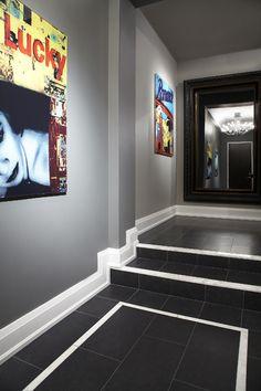 Black Limestone Foyer tiles with white border tile #floortiles #black #white