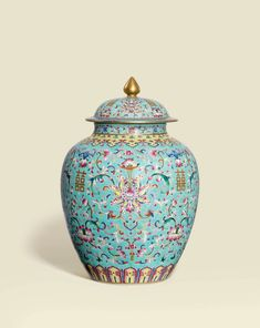 An impressive finely painted famille rose turquoise-ground 'Lotus' ovoid jar and cover, Daoguang six-character seal mark in iron-red and of the period (1821-1850)