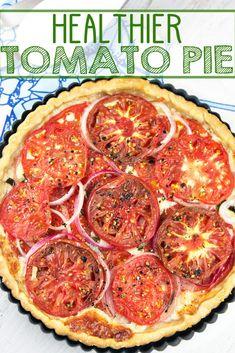 Healthier Tomato Pie: this not-so-souther tomato pie capitalizes on fresh tomato flavor with minimal mayo, keeping a delicious crispy crust. {Bunsen Burner Bakery} via Tart Recipes, Vegetable Recipes, Vegetarian Recipes, Cooking Recipes, Healthy Recipes, Veggie Food, Cooking Tips, Fruit Fruit, Savoury Recipes