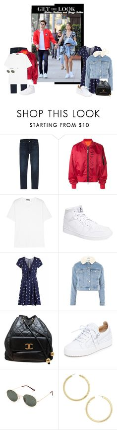 """Get the look: Sistine Stallone and Gregg Sulkin"" by alexa-girl2 ❤ liked on Polyvore featuring Citizens of Humanity, Unravel, Acne Studios, NIKE, Topshop, Chanel, Giuseppe Zanotti, Blue Crown and BaubleBar"