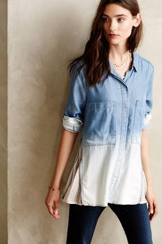 Zipped Lace Buttondown - anthropologie.com
