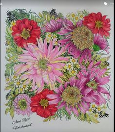 Coloring Book Art, Coloring Tips, Mandala Coloring, Adult Coloring Pages, Colorful Garden, Colorful Flowers, Secret Garden Colouring, Colored Pencil Techniques, Coloured Pencils
