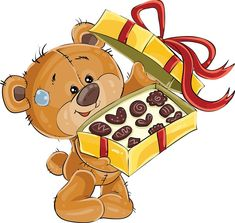 Buy Vector Illustration of a Brown Teddy Bear Treats by vectorpocket on GraphicRiver. Vector illustration of a brown teddy bear treats with chocolate candies. Tatty Teddy, Bear Cartoon, Cute Cartoon, Birthday Emoticons, Urso Bear, Scrapbook Images, Teddy Bear Pictures, Brown Teddy Bear, Cute Clipart