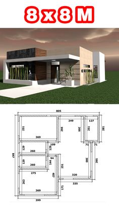 Free House Plans, House Layout Plans, Small House Plans, House Layouts, Flat House Design, Minimal House Design, Simple House Design, Modern House Facades, Modern Bungalow House