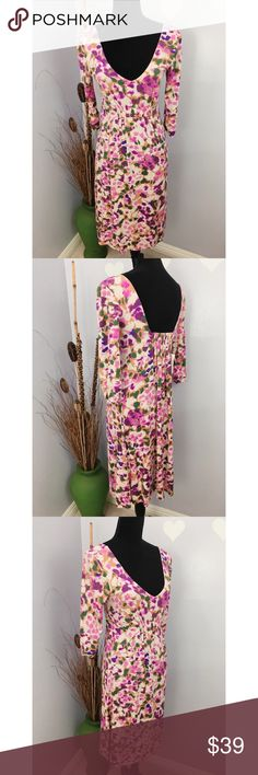 cabi 3/4 sleeve floral hydrangea dress style # 110 Brand new with tag. 100% rayon CAbi Style #110  Measurements are taken flat  Length: approx 37.5 Armpit across: 16.5 Waist: 13.5  Stock BA CAbi Dresses Midi