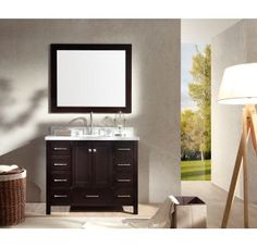 """View the Ariel A043S Cambridge 43"""" Free Standing Vanity Set with Wood Cabinet, Marble Top, 1 Undermount Sink, and 1 Mirror at Build.com."""