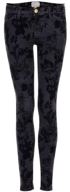 burnout velvet floral skinny jeans