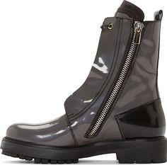 Costume National Grey Patent Leather Hilton Combat Boots