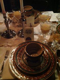 Ready for Puebla dinner!  Talavera and Silver, at La Quinta de San Antonio!