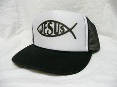 Jesus Fish Trucker Hat - Skulls, Skater and Cool Trucker Hats & more