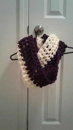Check out this item in my Etsy shop https://www.etsy.com/listing/497157687/oversized-purple-and-cream-infinity