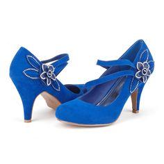 womens royal blue low kitten heel court shoes size 38