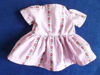 alte Puppenkleidung - Kleidchen rosa-weiß Blümchen Massepuppe Celluloidpuppe
