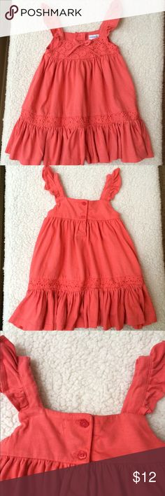 Maggie & Zoe Bright Coral Fluttery Summery Dress Nice thick cotton sundress, bright pink coral color with eyelet ruffle and flutter straps. Maggie & Zoe Dresses Casual