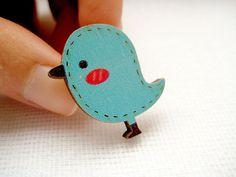 Wood laser cut blue bird pin - Tweet Tweet via Etsy