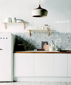 unfinished hex tile backsplash in the kitchen // #inthedetails