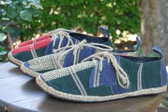 Vegan Mens Shoes Lace Up Oxfords In Hand Woven Naga Textiles by SiameseDreamDesign