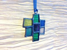 Abstract Stained Glass Art Suncatcher Ornament Pendant #1 - peacock, turquoise, white, light blue/periwinkle, sea green, emerald colors by artofmarabelle
