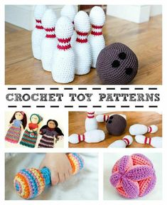 Make A Stuffed Toy Crochet Toy Patterns! I love the look of that bowling set - at least it wouldn't make too much noise! Crochet Game, Crochet Quilt, Crochet Gifts, Crochet For Kids, Crochet Things, Crochet Toddler, Crochet Round, Homemade Kids Toys, Handmade Baby Items