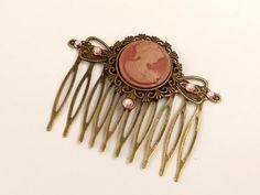 Kamee Haarkamm in rosa bronze antik Haarschmuck barock rokoko