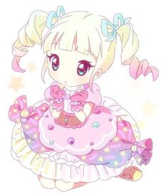 ✮ ANIME ART ✮ pastel. . .dress. . .cute fashion. . .candy. . .colorful. . .ruffles. . .twin tails. . .blonde and pink hair. . .ribbons. . .boots. . .big eyes. . .stars. . .cute. . .kawaii