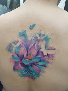 Watercolor tattoo by Versusink @southampton #watercolortattoo #tattooart #tattoo #watercolor #lotus #butterflies #butterfly #inked #flower #imprint #versusink #botanicaltattoo