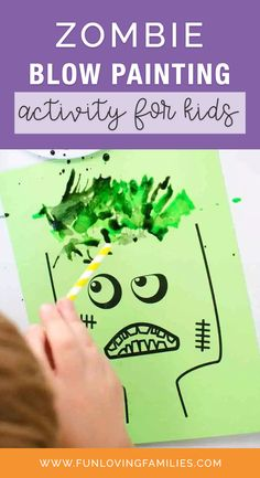Grab a straw and our zombie printable for a super-fun blow painting activity for kids. This is a fun and simple Halloween activity for any kid. #zombie #halloween #halloweencraft #halloweendiy #crafts #kidscrafts #kidsactivities #activities #craftideas #funforkids