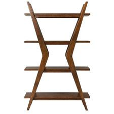 """Thoroughly Modern 66"""" Accent Shelves Bookcase"""