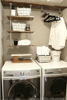 Quick and easy DIY country chic Laundry Room Decor Ideas that will take your dreary utility room up a notch with vibrant color and design.