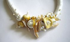 Items similar to OOAK necklace of handmade glass beads on ecru thick silk cord, made by me. on Etsy Glass Beads, Pearl Necklace, Necklaces, Pearls, Creative, Handmade, Stuff To Buy, Etsy, Vintage