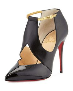 X2LFF Christian Louboutin Cutout Leather Red Sole Pump, Black