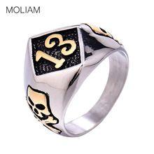 Stainless Steel Gold Lucky Men's Ring Skull & Bones Biker Fashion Vintage Rings, Vintage Jewelry, Full Finger Rings, Punk, Biker Style, Skull And Bones, Rings Cool, Jewelery, Gemstone Rings