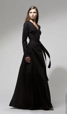 Long silk dress / Купить Платье на запах в пол из шелка - черный, однотонный, черное платье, платье в пол
