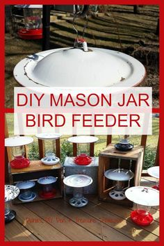 DIY Mason Jar Bird Feeders More birdcrafts Bird House Feeder, Diy Bird Feeder, Humming Bird Feeders, Oriole Bird Feeders, Rustic Bird Feeders, Pot Mason Diy, Mason Jar Crafts, Mason Jars, Upcycled Crafts