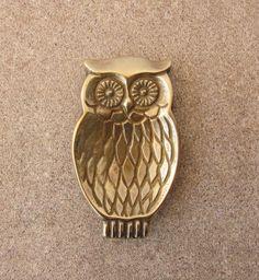 Vintage brass Owl, Small bronze vintage ashtray