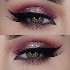 Burgundy & Champagne Eye Glitter Look
