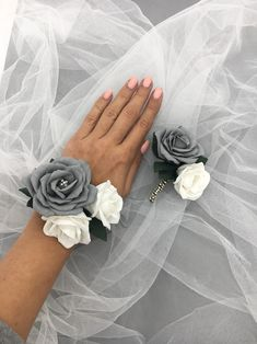 Items similar to Silver corsage. Corsage bracelet for wondarland wedding. on Etsy Homecoming Flowers, Homecoming Corsage, Prom Flowers, Prom Corsage And Boutonniere, Flower Corsage, Boutonnieres, Corsages, Black Corsage, Wristlet Corsage
