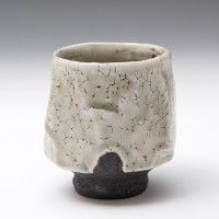 Lisa Hammond - Yunomi,     Height (cm):   9.5 Width (cm):   8.5 .      Black clay with celadon
