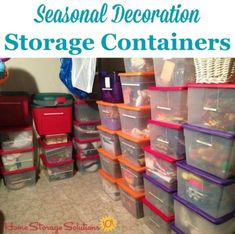 Seasonal decoration storage containers which are both labeled as well as color coded for each of the main holidays such as Christmas Easter Fourth of July Halloween etc. {on Home Storage Solutions