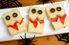Chefs at The Ritz-Carlton, Tysons Corner create festive and unique Halloween treats for the hotel's annual Scary Tea, like spooky and delicious monster sandwiches. To make your own: Cut the edges of bread slices off to shape into rectangles. Cut the bottom slice of bread in half, and cut the top slice zigzag across to create a 'teeth' look. Layer on cheese and pepperoni. Next, take a couple of pieces of pepperoni in half and fold over the top bread slice to create a mouth.