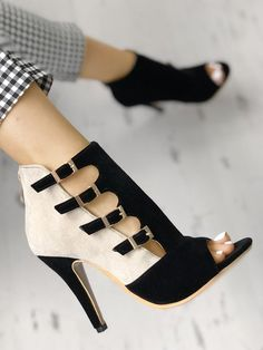 bcdc5d63a015a6 Colorblock Splicing Hollow Out Buckled Thin Heels
