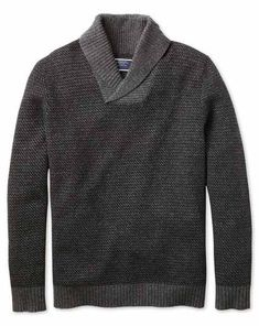 Buy our Charcoal shawl collar jacquard sweater exclusively from Charles Tyrwhitt of Jermyn Street, London. Grey Suit Shoes, Black Suits, Sweater Shop, Men Sweater, Jumper, Charles Tyrwhitt, Suit Shop, Knitwear, Shawl